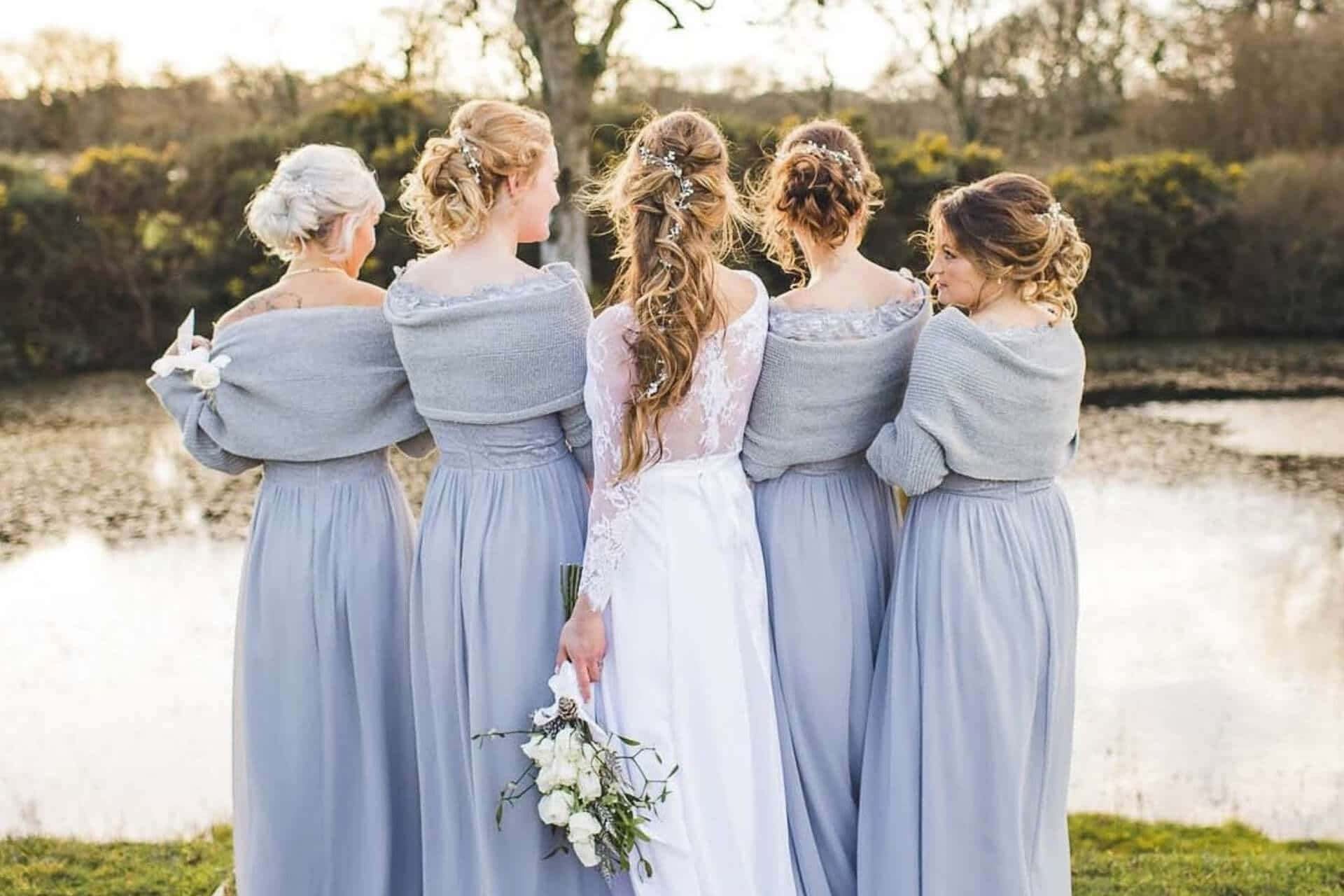 bride and bridesmaids with hair by gower bridal hair